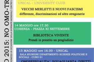 Settimana contro l'omotransfobia: gli eventi organizzati da Arcigay a Cosenza per la ricorrenza del 17 Maggio.