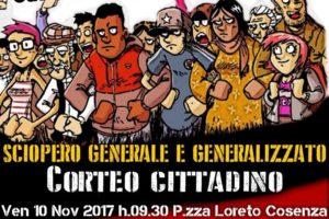 Cosenza: il 10 novembre sciopero generale e generalizzato.