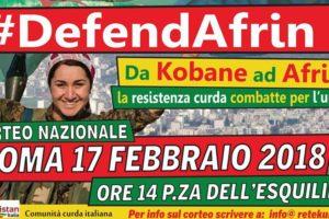 Defend Afrin: Domani corteo di solidarietà a Roma, bus anche da Cosenza.